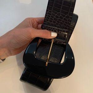 ❤️ Max Mara black croc print leather belt
